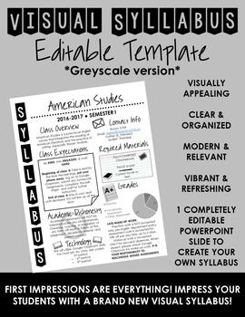 Visual Syllabus Editable Template -- Create your own -- GR