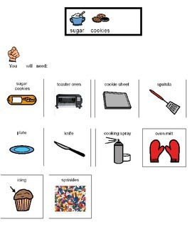 Visual recipe for decorated sugar cookies for students wit