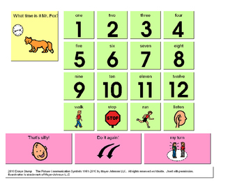 """Visual supports for use when teaching the game """"What Time"""