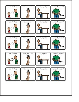 Visuals for Kindergarten - post to student tables