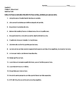 ¡Viva el toro! Chapters 7 and 8 Quiz & Answer Key