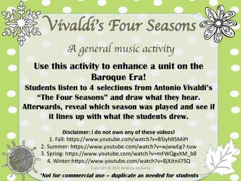 Vivaldi's Four Seasons Listening / Drawing Activity for Ge