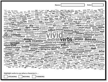 Vivid Active Verbs wordbank poster worksheet story narrati