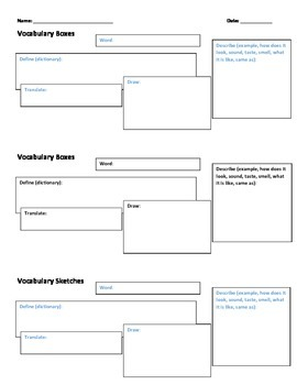 Vocab Boxes - ESL