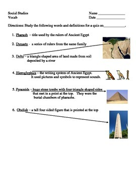 Vocab Quiz - Ancient Egypt