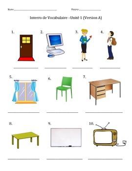 Vocab Quiz (Dans la salle de classe) Bien Dit! 1 Ch.1