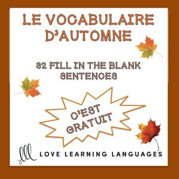 Vocabulaire d'Automne - 32 Words + Images + Quizlet + Exercise