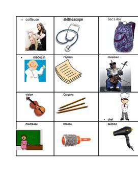 Vocabulaires de professions et outils