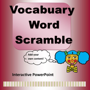 Vocabulalry Word Scramble Game Template