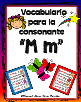 Vocabulario de la letra M m consonante Mm Bilingual Stars