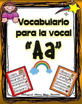 Vocabulario de la vocal A a  letra  Aa Bilingual Stars Mrs