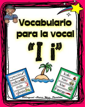 Vocabulario de la vocal I i  letra  Ii Bilingual Stars Mrs