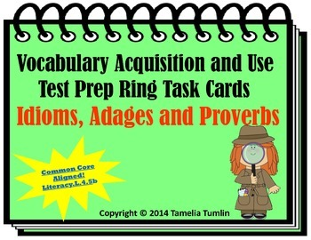 Vocabulary Acquisition Literacy Center Test Prep Rings (Id