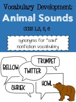 """Vocabulary Activities: Animal Words for """"Said"""""""