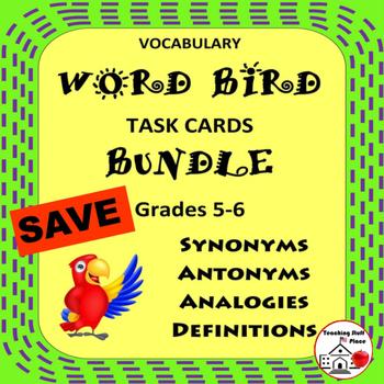 Word Bird BUNDLE | Vocabulary Task Cards | Synonyms,Antony