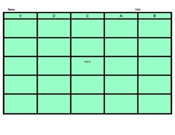 Vocabulary Bingo Game Board