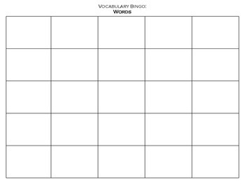 Vocabulary Bingo Handout