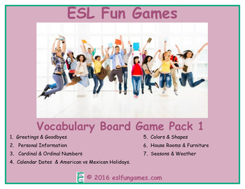 Vocabulary Board Games Pack 1 Game Bundle