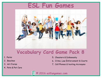 Vocabulary Card Games Pack 8 Game Bundle