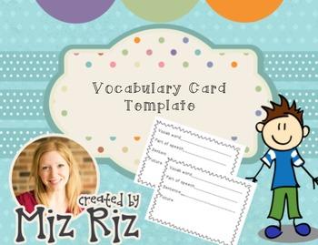 Vocabulary Card Template!