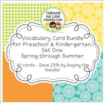 Vocabulary Cards Bundle for Preschool & Kinder Set 1: Spri