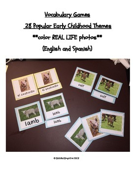 Vocabulary Cards (English and Spanish) in 28 Early Childho