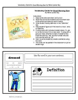 Vocabulary Cards for Good Morning Sam
