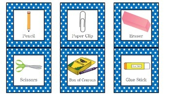 Vocabulary Cards for School Supplies for Back to School!