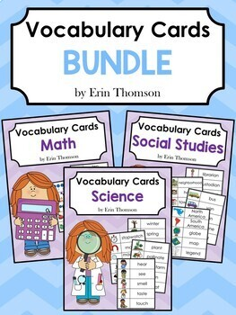 Vocabulary Cards Bundle: Math, Science, and Social Studies