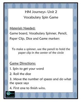 Vocabulary Center Unit 2 HM Journeys Florida 4th Grade