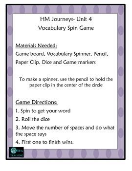 Vocabulary Center Unit 5 HM Journeys Florida 4th Grade