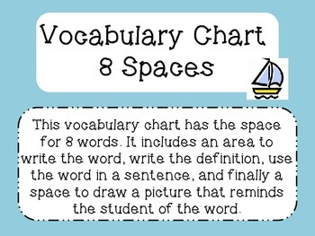 Vocabulary Chart with 8 Spaces
