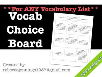 Vocabulary Choice Board for Any Vocabulary List