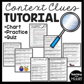 Vocabulary Context Clues Tutorial, Chart, Practice, Quiz,