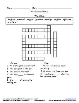 Vocabulary Crossworrd U3W2