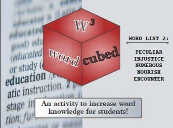 Vocabulary Cubed- List #2 Ready to go Activity