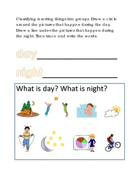 Vocabulary Day Night Classifying Sorting #9 Following Dire