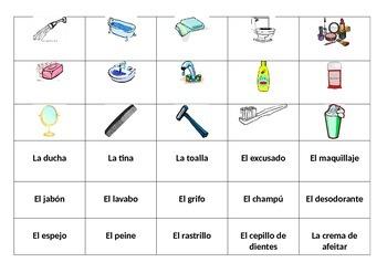"""Vocabulary """"El baño""""  (daily routine)"""