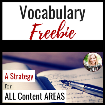 FREEBIE-- Vocabulary Entry Instructions:  A Strategy for A