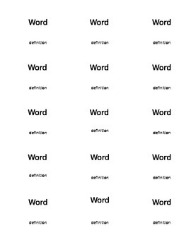 Vocabulary Flash Card Game