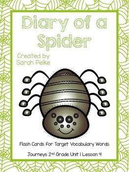 Vocabulary Flash Cards for Journey's Diary of a Spider