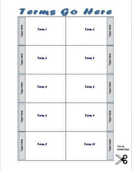 Vocabulary Flip Card Template