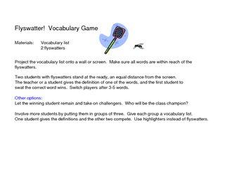 Vocabulary Flyswatter Game