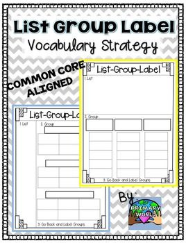 Vocabulary Freebie!  List-Group-Label Strategy Common Core