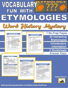Vocabulary Activities: Etymologies (Grades 8-11, 5 Pages,