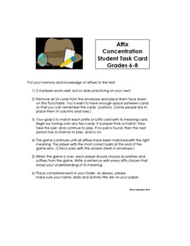 Vocabulary Game: Affix Concentration for grades 6-8