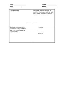Vocabulary Graphic Organizer - Common Core Connected