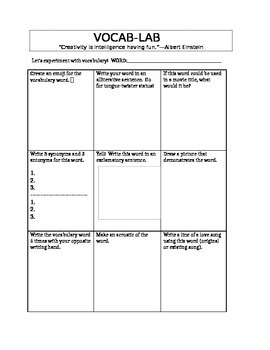 Vocabulary Graphic Organizer for Middle School