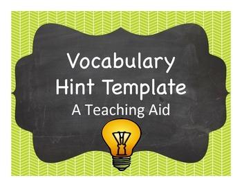 Vocabulary Hint Template