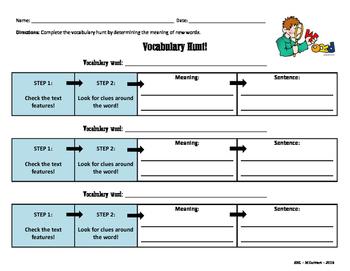 Vocabulary Hunt Graphic Organizer